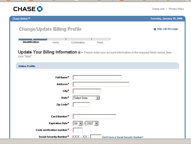 Chase Phishing Update Screen
