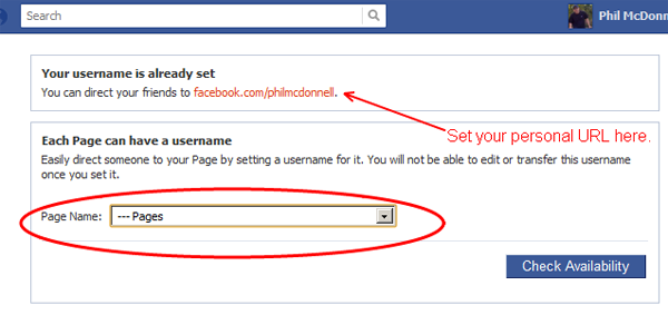 Facebook Friendly URL - Username Setting Screen