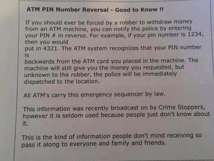 There is NO ATM PIN Number Reversal System!