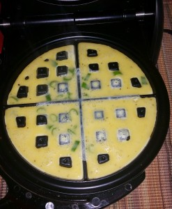 Eggs added to waffle maker