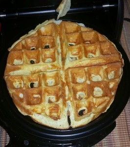 Eggs done in waffle maker